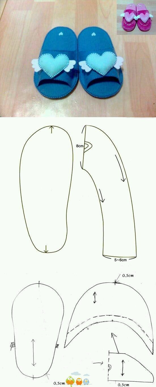 tutorial sapatos bebe feltro